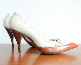 1960s Spectator Style Stilettos in White and Brown