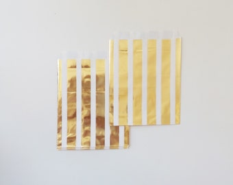 12 Metallic Gold stripes Paper Bags Party Goodies Sweets