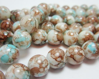 20 Glass Beads Aqua Blue Brown Marbled Tie Dye 10mm Round Beads  3790