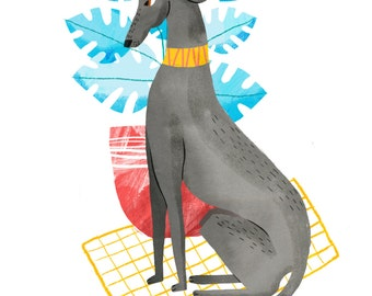 Greyhound art print - A4 or A3