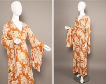 BIBA 70s Boho KIMONO Sleeve Maxi Wrap Dress UK 10-12