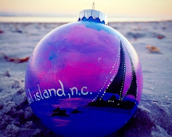 Sailboat at Sunset Ornament- Customize with your own town name, last name, boat name, ect!