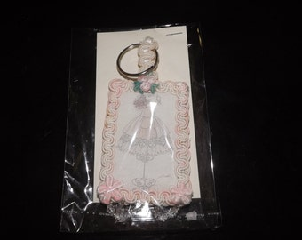 Pink and White Vintage Key Chain