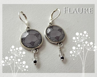 Earrings '' black and white psychedelic ""