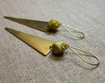 Serpentine Brass Earrings / Triangle Earrings / Gemstone Earrings / Boho Chic / Minimalist / Geometric