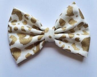 Gold leopard print hair bow