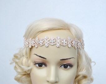 Rose Gold Bridal Rhinestone Headband Crystal Wedding Rose Gold Bridal tie on ribbon  Flapper Great Gatsby 1920s Headband Headpiece