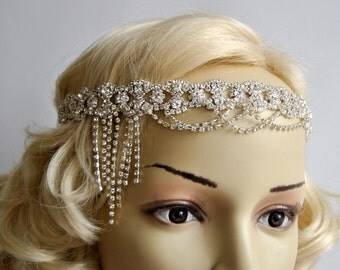 Luxury Rhinestone flapper Gatsby Headband, Chain 1920s Wedding Crystal Headband Headpiece, Bridal Headpiece, 1920s Flapper headband