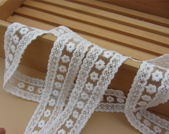 White flower Embroidery Lace Trim Bridal Lace rose Lace Cotton Embroidery- width 3cm, 1.18inch lace trimming,daisy lace