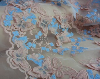 3D Antique PINK Lace fabric ,butterfly embroidery on double sides on organza for girl Clothings / DRESS Lace supply ,solubility lace fabric