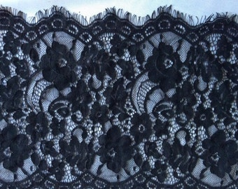 """3 Yards*11"""" white eyelash lace fabric  , Chantilly Eyelash Lace Fabric in white  for Wedding Gowns, black eyelash lace fabric-3145"""