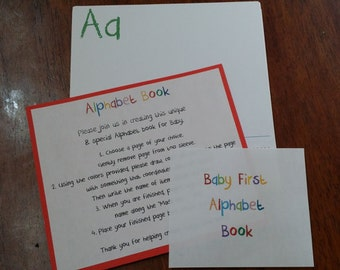 Baby Shower First ABC or Numbers Book --- Pages Only