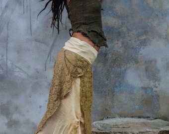 Fairy spirit long skirt, natural bohemian festival skirt, ajustable