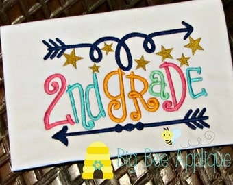 2nd Grade Back to School Embroidery design