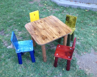Kids table and chair set, brown table with multi-colored chairs, handmade at Jason Varley Designs, solid wood, non-toxic stain, rustic look.