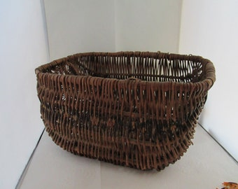 Antique Large Hand Woven Basket Hand Made Basket Hand Crafted Basket Large Basket Natural Woven Basket rustic basket primitive basket