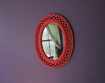 Vintage Oval Faux Wicker Homco Wall Mirror Upcycled with Coral Paint Vertical mirror Painted mirror Coral mirror Oval mirror Rattan mirror