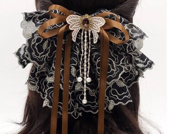 French Lace Fabric Oversized Bow Barrette, Michelle, black & brown, big hair bow, large bow, wedding headpiece