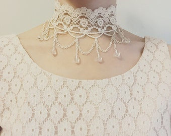 Victorian Ivory Flower Lace Choker with Chains & Glass Beads