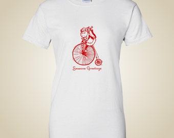 Women's bicycle t shirt Season's Greetings