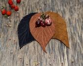 Brooch Leaf Pin Brooch Autumn Leaf  brown Warm  Leaves Pin - Foliage - Autumn fall - Autumn foliage - brooch leaf