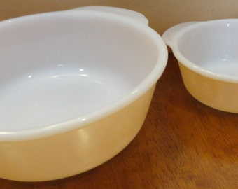 Two Vintage Peach Lustre Fire King Bowls