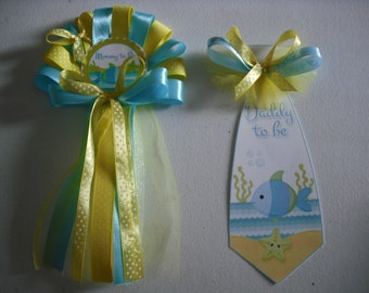 Baby shower Fish and star fish mommy and daddy's corsage and Tie set