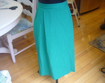 1980's Green with Black Pin Stripe Pencil Skirt.