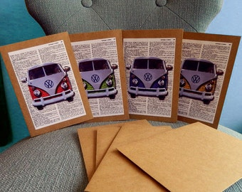 VW Bus 4-Pack Blank Cards on recycled kraft cardstock