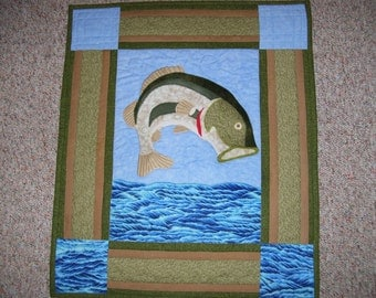 fish quilt-fathers day quilt-bass quilt-fishing-big fish-gift for him