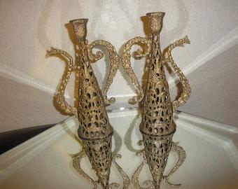Teapot Brass Candle Holders Holyland Jerusalem