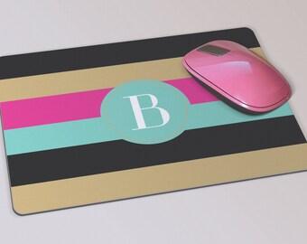 Fabric Mousepad, Mousemat, 5mm Black Rubber Base, 19 x 23 cm - Bold Striped Monogrammed Mousepad Mousemat