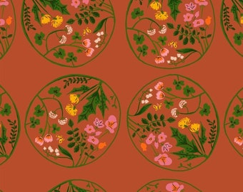 Heather Ross Tiger Lily for Windham Fabrics - Wreaths in Orange