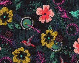 Fat Quarter Honeymoon Morning Dew in Black by Sarah Watts for Cotton and Steel