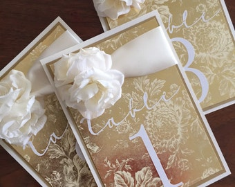 Wedding table numbers, elegant table card numbers, Gold Floral Damask Table Number Cards
