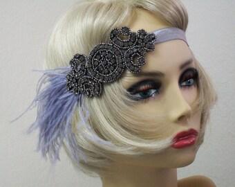 Flapper headband, Great Gatsby headband, 1920s headpiece, Downton Abbey, Feather headband, Beaded Art Deco, Vintage inspired