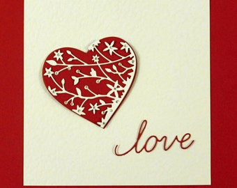 "Memory Box Cupid Heart, Serafina Heart and word ""Love"" Die cut shapes"