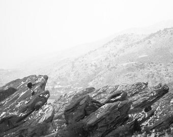 Red Rocks, Colorado - Snowy Black & White Canvas Print - Any Size - on Stretched Canvas - READY TO HANG
