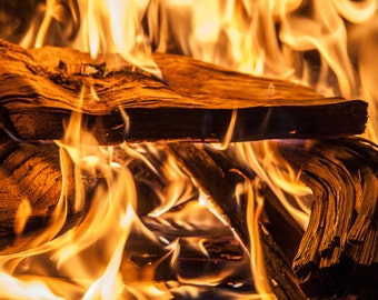 Printable Fireside Fireplace Color Digital Photograph