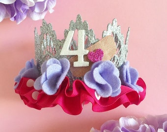 Pink + Purple || Doc McStuffins-Inspired Lace Crown Headband || Felt Flowers + Polkadot Ruffle || Optional Number || 2 Flower Color Choices