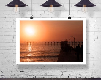Photograph - Evening Sunset Ocean silhouette Pier Home Decor Fine Art Photography Print