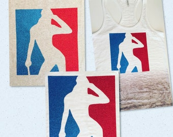Fun tee for those baseball lovers. This design on this tee is in red and blue glitter.