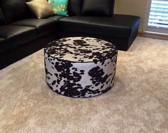 Round Ottoman , Faux cowhide Australian custom made product ,