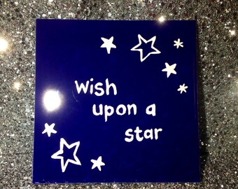 Christmas 'wish upon a star' Navy blue ceramic handpainted tile coaster with rubber bottom, stocking filler gift, ready to ship, UK seller