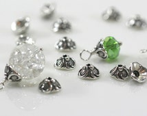 10 Pieces, TierraCast~ Lily 8 mm.Bead Caps~ Antiqued Fine Silver Plated Lead Free Pewter ~ 10 Pieces 0412