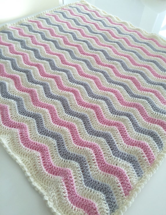 Made to order - Crochet Baby Blanket - Crochet Blanket - Ripple Blanket - Chevron Blanket