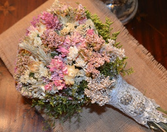 Wedding Bouquet, Dried Flower Bouquet,  Dried Wedding Bouquet, Pink Wedding Bouquet  - Can Be Made to Order