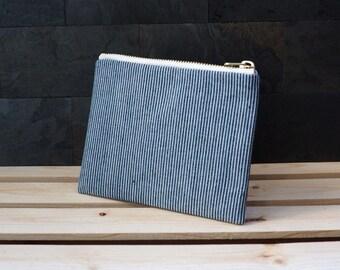 Blue stripe pouch, Zipper pouch, zipper pouch, zippered pouch, summer clutch, pouch, de almeida designs
