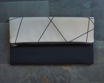 taupe black geometric lines screen print clutch, fold over, foldover, black, canvas, beige, de almeida designs