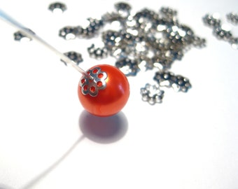 Silver Tone Bead Caps 6mm Jewelry Supplies